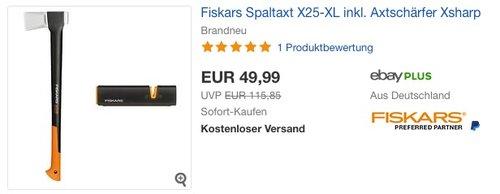 Fiskars Spaltaxt X25-XL + Axtschärfer Xsharp - jetzt 19% billiger