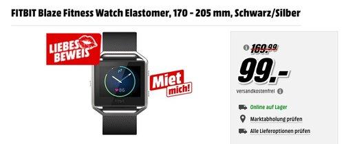 FITBIT Blaze Fitness Watch Elastomer, 170 - 205 mm, Schwarz-Silber - jetzt 41% billiger