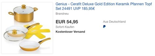 Genius - Cerafit Deluxe Gold Edition 24491 Keramik Pfannen Topf Set - jetzt 63% billiger