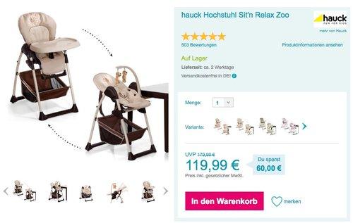 hauck Hochstuhl Sit'n Relax Zoo - jetzt 10% billiger