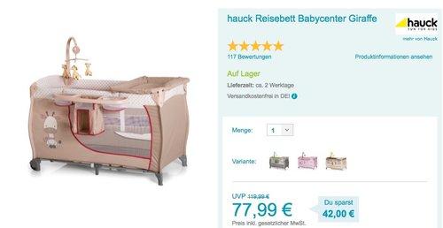 hauck Reisebett Babycenter Giraffe - jetzt 18% billiger