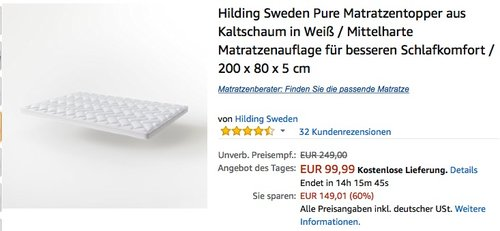 Hilding Sweden Pure Matratzentopper aus Kaltschaum 200 x 80 x 5 cm - jetzt 24% billiger