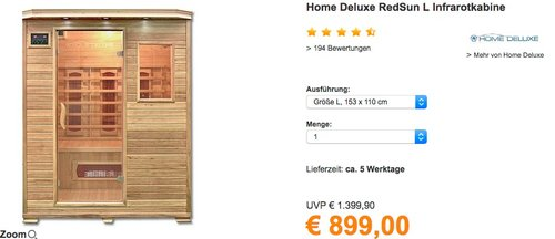 Home Deluxe RedSun L Infrarotkabine - jetzt 18% billiger