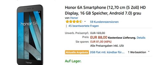 HONOR 6A Smartphone 16 GB 5 Zoll - jetzt 24% billiger