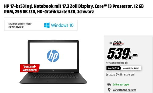 HP 17-bs531ng, Notebook mit 17.3 Zoll Display, Core™ i3 Prozessor, 12 GB RAM, 256 GB SSD, HD-Grafikkarte 520, Schwarz - jetzt 16% billiger