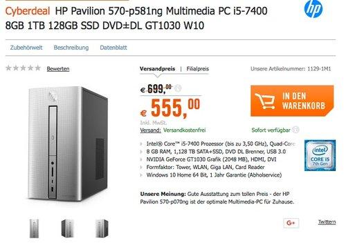 HP Pavilion 570-p581ng Multimedia PC i5-7400 8GB 1TB 128GB SSD DVD±DL GT1030 W10 - jetzt 21% billiger