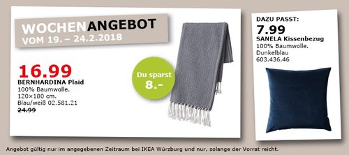 IKEA BERNHARDINA Plaid - jetzt 32% billiger