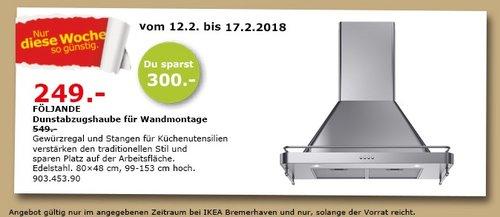 IKEA FÖLJANDE Dunstabzugshaube - jetzt 55% billiger