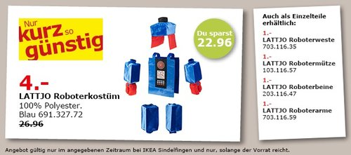 IKEA LATTJO Roboterkostüm - jetzt 85% billiger