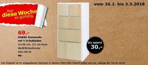 IKEA RAKKE Kommode mit 5 Schubladen - jetzt 30% billiger