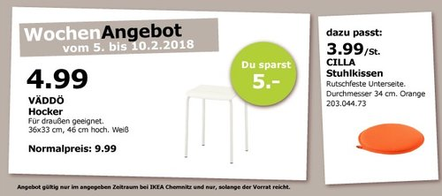 IKEA VÄDDÖ Hocker - jetzt 50% billiger