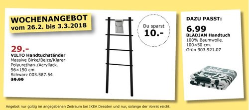 IKEA VILTO Handtuchständer - jetzt 27% billiger