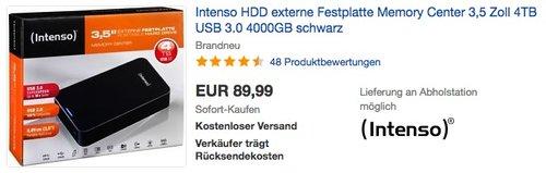 Intenso Memory Center 4TB  externe Festplatte 3,5 Zoll - jetzt 11% billiger