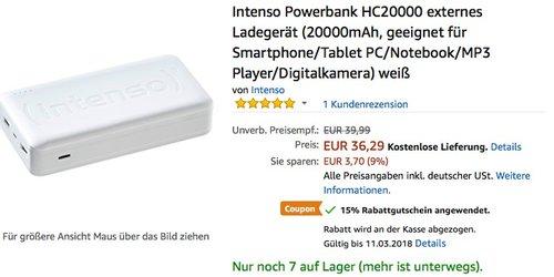 Intenso Powerbank HC20000 externes Ladegerät weiß - jetzt 14% billiger
