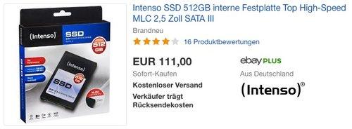 Intenso SSD 512GB interne Festplatte - jetzt 9% billiger