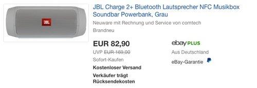 JBL Charge 2+ Bluetooth Lautsprecher Grau - jetzt 31% billiger