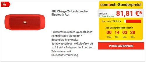 JBL Charge 2+ Lautsprecher Bluetooth Rot - jetzt 26% billiger