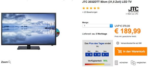 JTC 2032DTT 80cm (31,5 Zoll) LED TV - jetzt 9% billiger