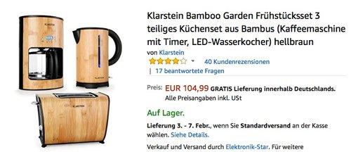 Klarstein Bambus Frühstücksset Kaffeemaschine Wasserkocher Toaster - jetzt 9% billiger