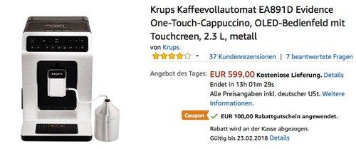 Krups Kaffeevollautomat EA891D Evidence - jetzt 17% billiger