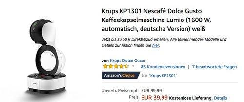 Krups KP1301 Nescafé Dolce Gusto Kaffeekapselmaschine Lumio - jetzt 20% billiger