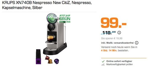 KRUPS XN740B Nespresso New CitiZ Kapselmaschine - jetzt 15% billiger