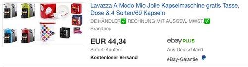Lavazza A Modo Mio Jolie Kapselmaschine mit gratis Tasse, Kaffeedose und 4 Kapselpackungen - jetzt 36% billiger