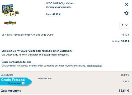 LEGO 60123 City: Vulkan-Versorgungshelikopter - jetzt 14% billiger