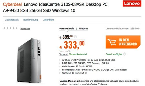 Lenovo IdeaCentre 310S-08ASR Desktop PC A9-9430 8GB 256GB SSD Windows 10 - jetzt 17% billiger
