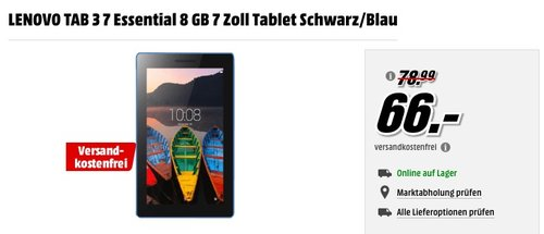 LENOVO TAB 3 7 Essential 8 GB 7 Zoll Tablet - jetzt 16% billiger