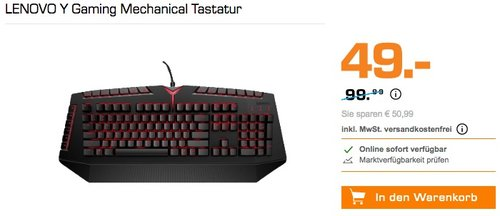 LENOVO Y Gaming Mechanical Tastatur - jetzt 39% billiger