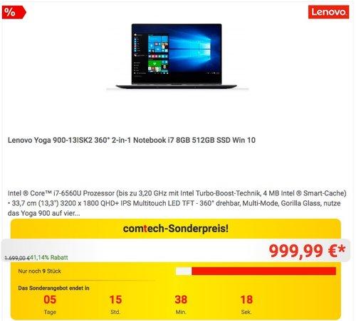 Lenovo Yoga 900-13ISK2 360° 2-in-1 Notebook i7 8GB 512GB SSD Win 10 - jetzt 20% billiger