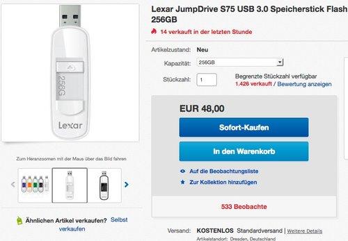 Lexar S75 256GB USB 3.0 Speicherstick - jetzt 26% billiger