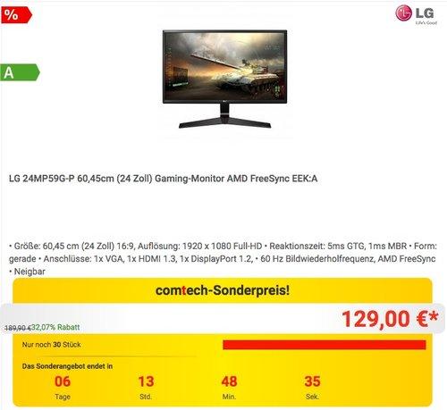 LG 24MP59G-P 60 cm (24 Zoll) Gaming Monitor - jetzt 14% billiger