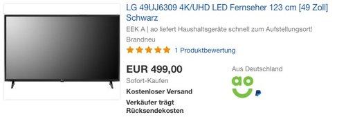 LG 49UJ6309 123 cm (49 Zoll) Ultra HD Fernseher - jetzt 6% billiger