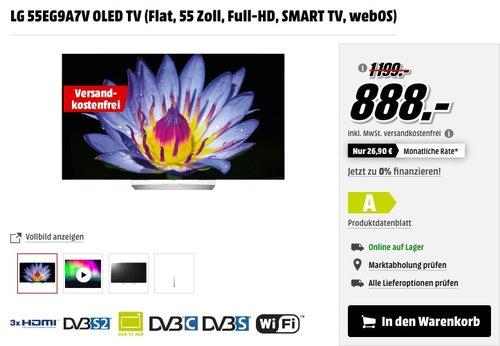 LG 55EG9A7V OLED TV (Flat, 55 Zoll, Full-HD, SMART TV, webOS) - jetzt 15% billiger