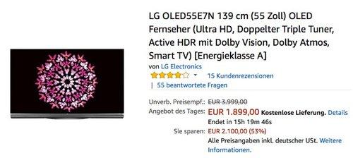 LG OLED55E7N UHD 4K OLED Smart TV 139cm (55 Zoll) - jetzt 7% billiger