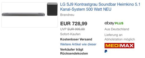 LG SJ9 5.1.2 Soundbar (500W, kabelloser Subwoofer, Dolby Atmos) - jetzt 6% billiger