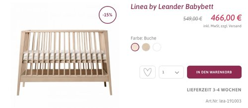 Linea by Leander Babybett - Buche - jetzt 11% billiger