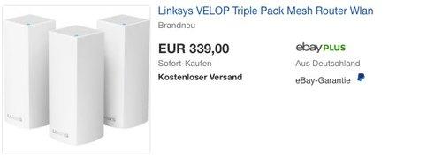 Linksys Velop Tri-Band WLAN Modulsystem - jetzt 22% billiger