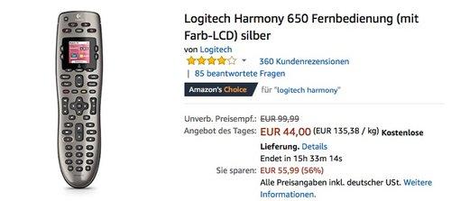 Logitech Harmony 650 Fernbedienung - jetzt 20% billiger