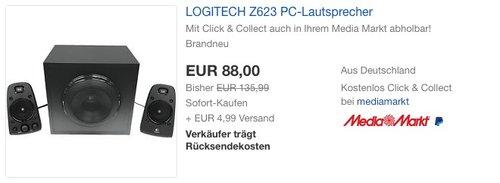 Logitech Z623 Soundsystem 2.1 Stereo-Lautsprecher - jetzt 28% billiger