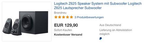Logitech Z625 2.1 Stereo-Lautsprecher THX (mit Subwoofer) - jetzt 19% billiger