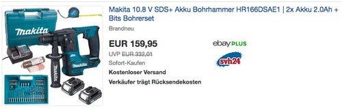 Makita 10.8 V SDS+ Akku Bohrhammer HR166DSAE1 | 2x Akku 2.0Ah + Bits Bohrerset - jetzt 8% billiger
