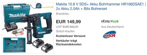 Makita 10.8 V SDS+ Akku Bohrhammer HR166DSAE1 - jetzt 9% billiger