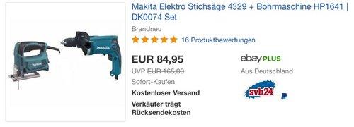Makita Elektro Stichsäge 4329 + Bohrmaschine HP1641 | DK0074 Set - jetzt 13% billiger