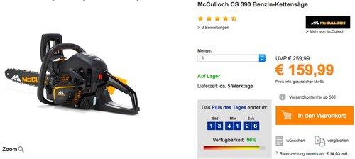 McCulloch CS 390 Benzin-Kettensäge - jetzt 24% billiger