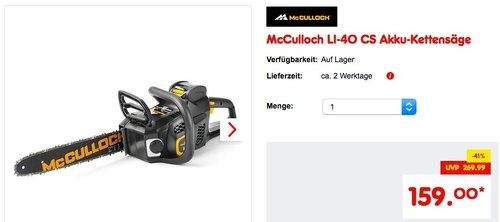 McCulloch LI-40 CS Akku Kettensäge - jetzt 18% billiger
