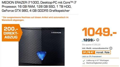 MEDION ERAZER i71000, Desktop-PC mit Core™ i7 Prozessor, 16 GB RAM, 128 GB SSD, 1 TB HDD, GeForce GTX 980, 4 GB GDDR5 Grafikspeicher - jetzt 19% billiger
