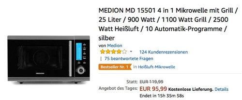 MEDION MD 15501 4 in 1 Mikrowelle mit Grill - jetzt 19% billiger